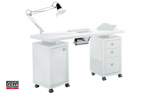 Mobilier D 39 Esth Tique Table Manucure Blanc Deux Colonnes