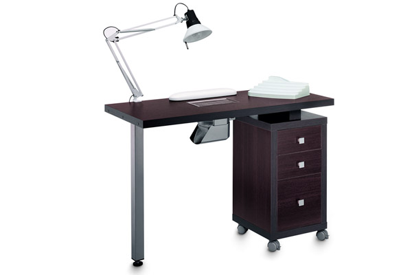 Mobilier d 39 esth tique table manucure une colonne trois tiroirs et aspi weng - Table onglerie avec aspiration ...
