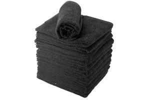 Lot de 12 serviettes éponge noires